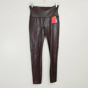 SPANX Ready To Wow Faux Leather Wine S Leggings